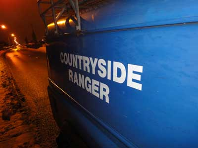 Countryside rangers' Land-Rover in the snow