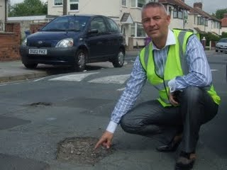 Councillor Phil Moffatt investigates the pothole crisis at Fieldton Road
